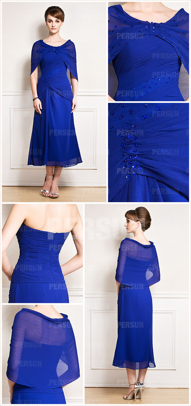 robe bleue électrique mi-longue drapée à cape pour mariage