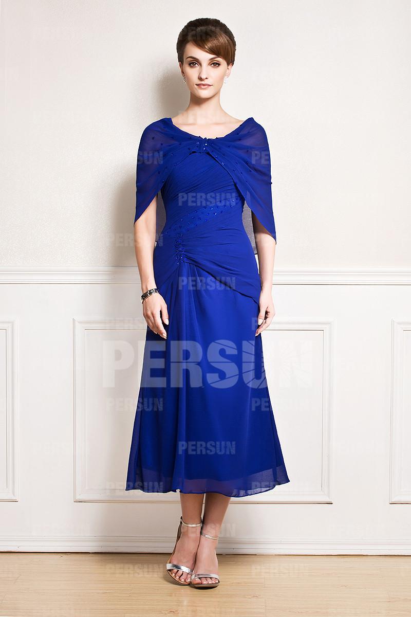 robe mère de mariée bleu marine mi-longue drapé embelli de bijoux avec boléro