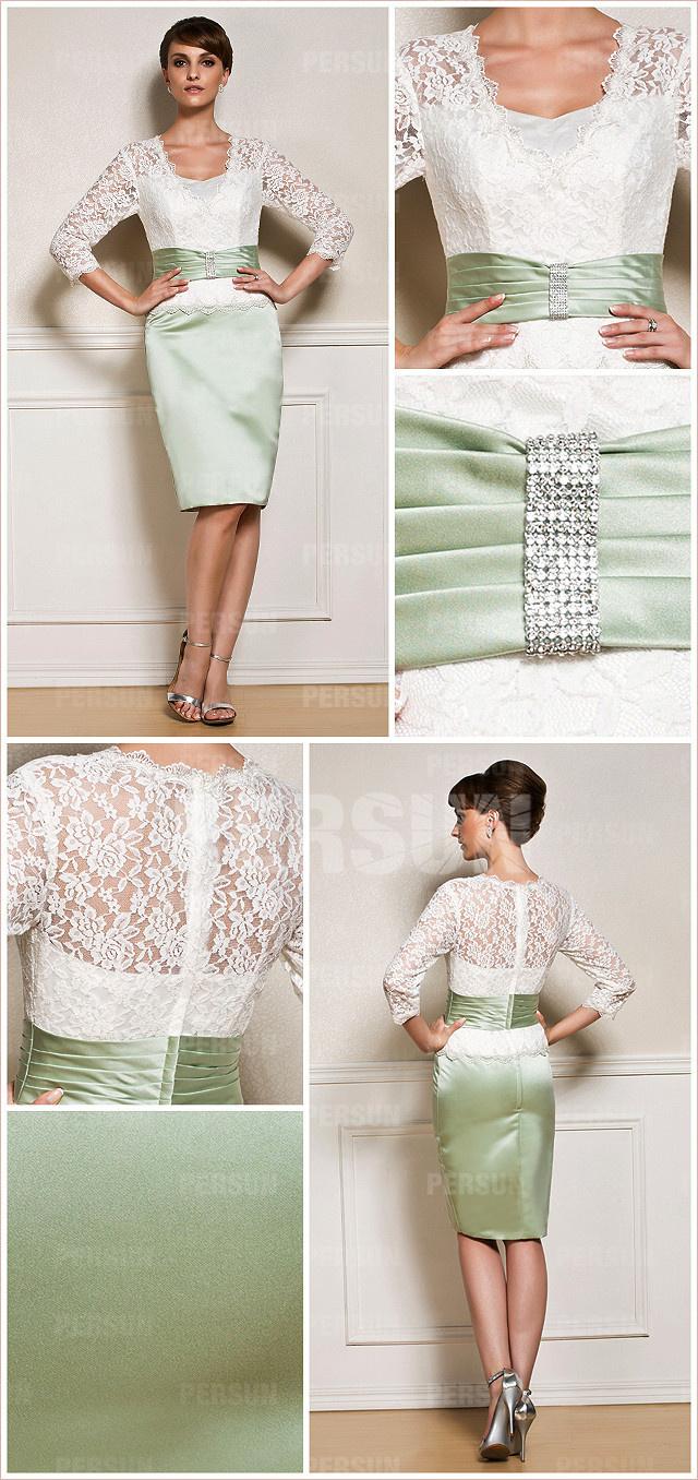 Robe soirée verte jupe moulante avec manche dentelle pour assister à un mariage