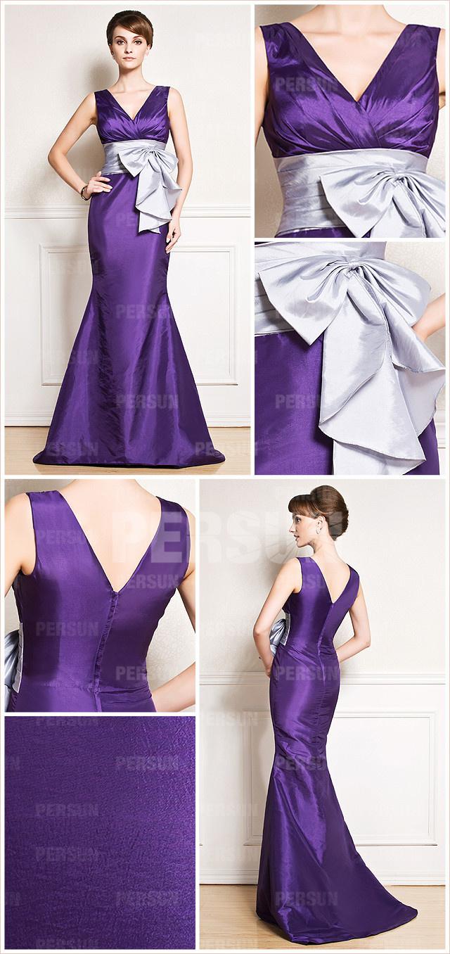 Robe longue sirène violette de fiançailles à col V