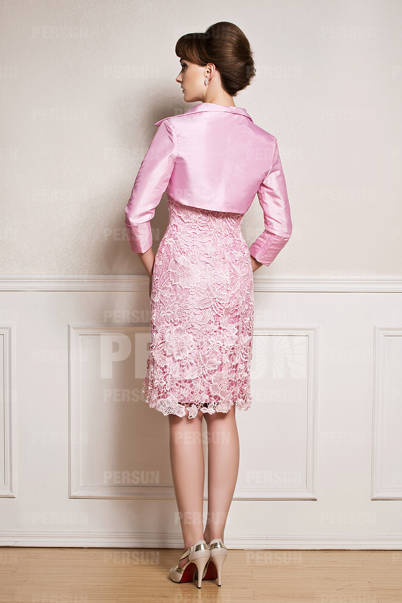 Robe cocktail rose courte avec boléro en taffetas et dentelle