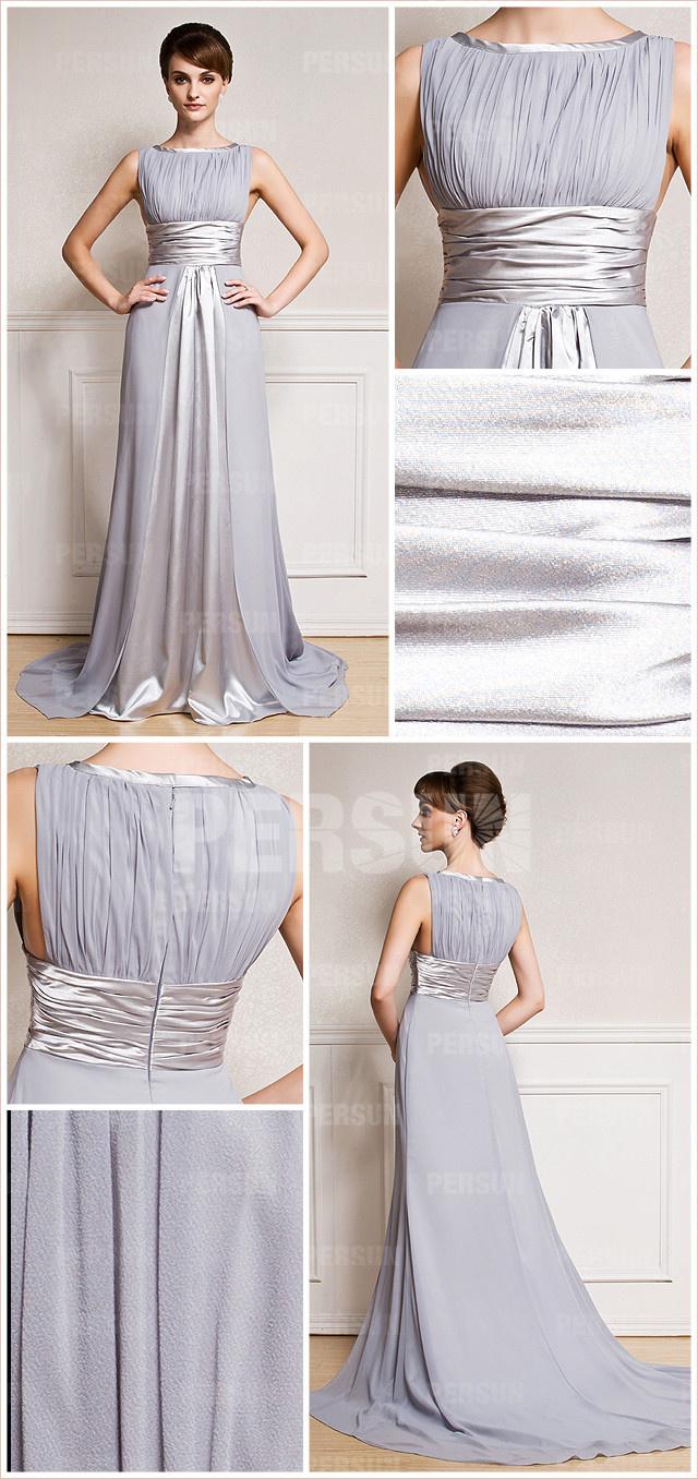 robe de gala grise perle à col bateau
