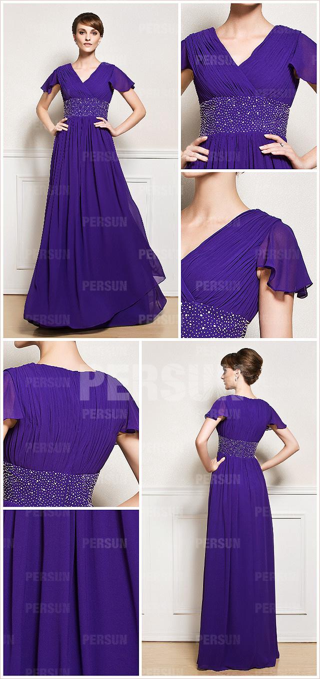 robe modeste parme taille ornée de strass à manche courte