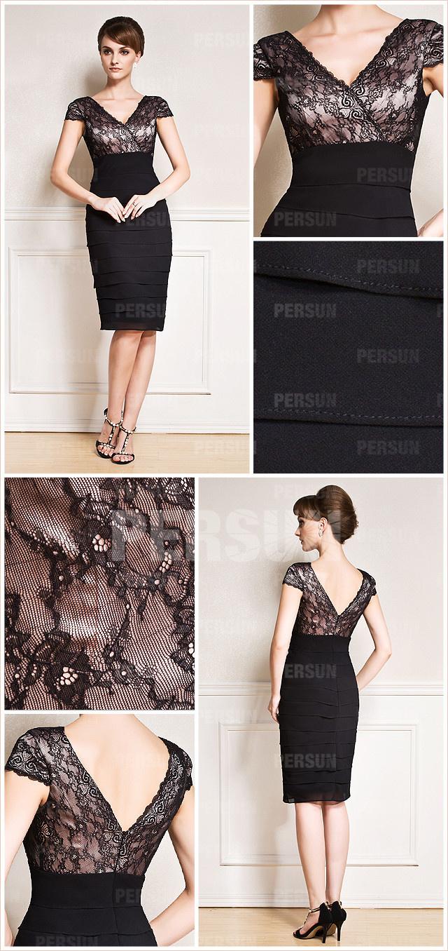 robe fourreau noire pour mariage avec mancheron