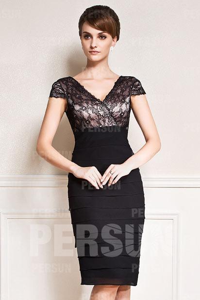 Noire robe fourreau pour invitée mariage