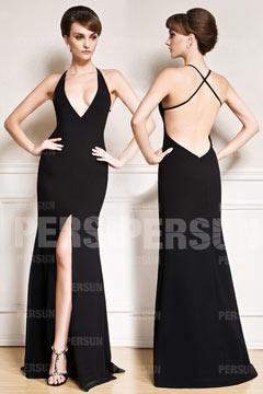 Sexy Robe fendue noire à encolure profonde et dos nu