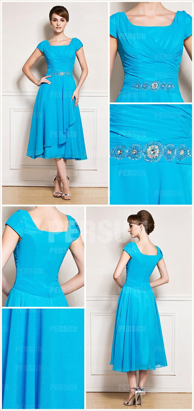 bleue robe longue au mollet à mancheron