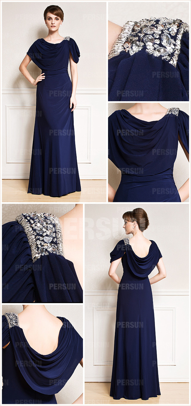 robe habillée bleu nuit col rond pour mère de la mariée