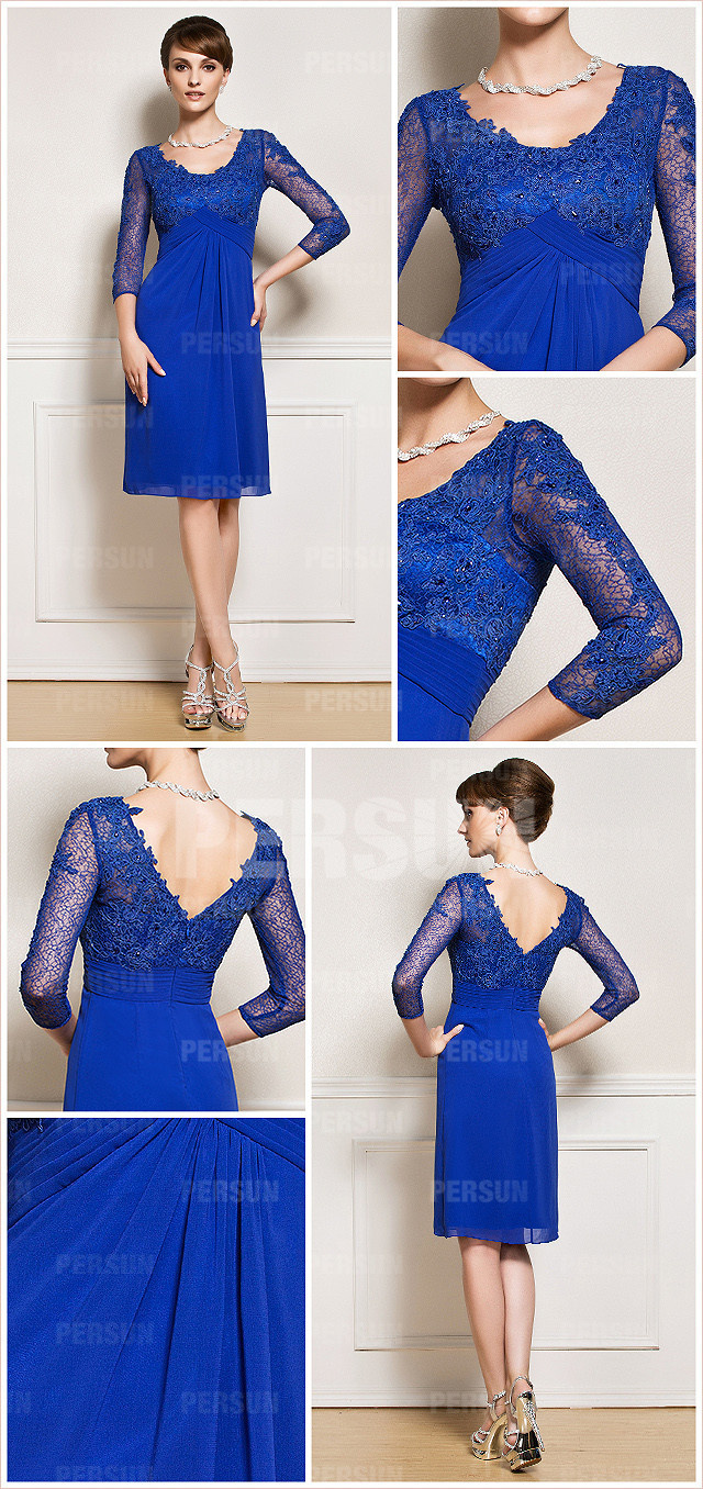 robe De soirée bleu pour mariage avec manche dentelle délicate dos échancré en V