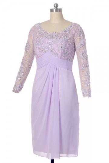 robe mère de mariée lilas courte avec manche en detelle