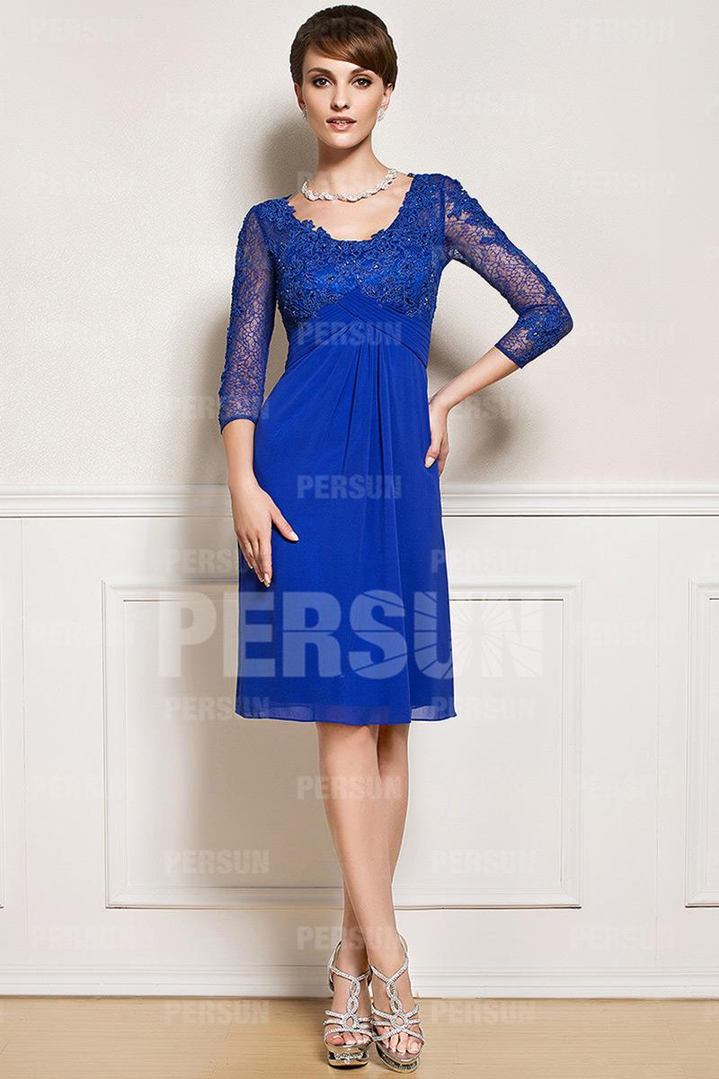 robe courte empire bleu roi pour mère du marié à manche dentelle