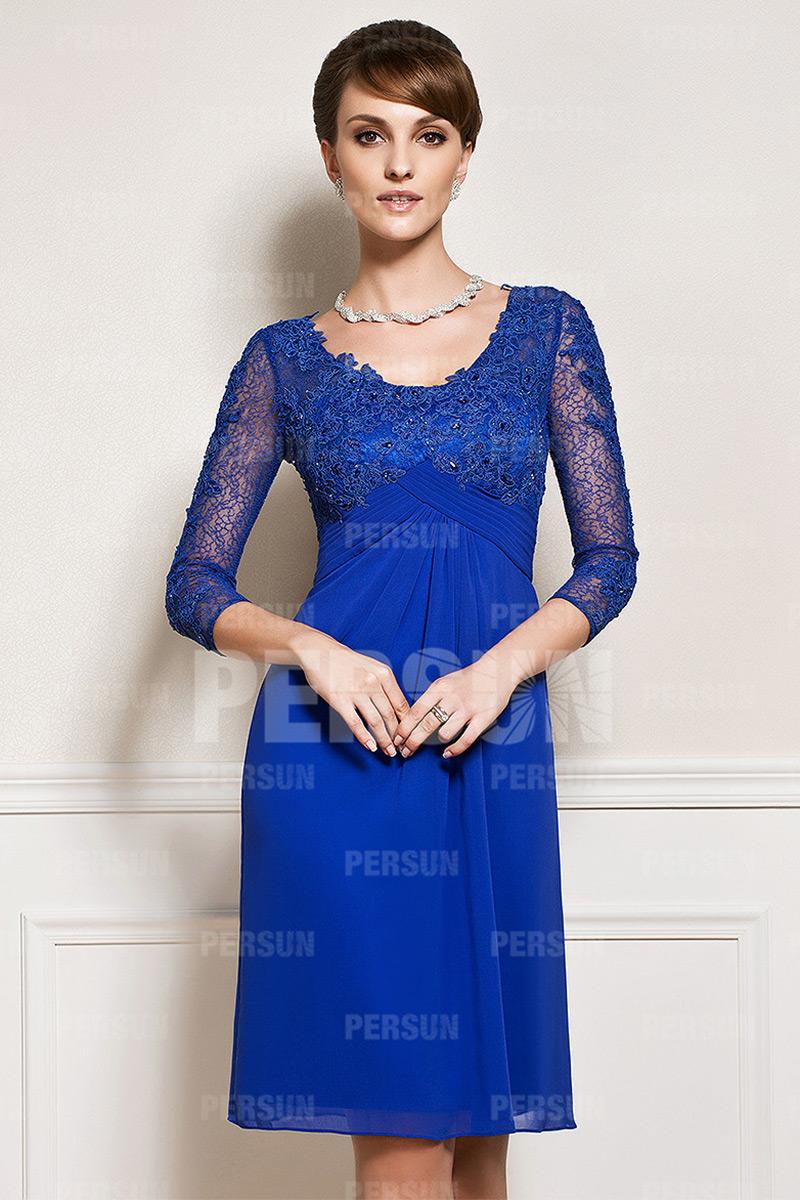 robe mère mariée bleu roi empire en dentelle à manche mi-longue