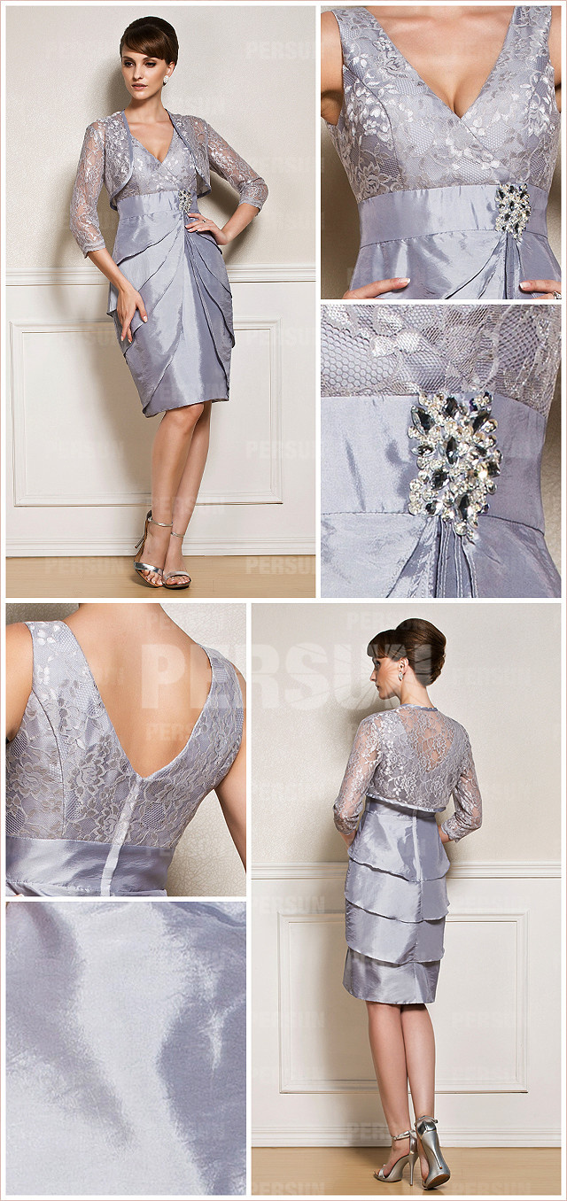 robe de cocktail grise pour belle mère au mariage avec boléro en dentelle