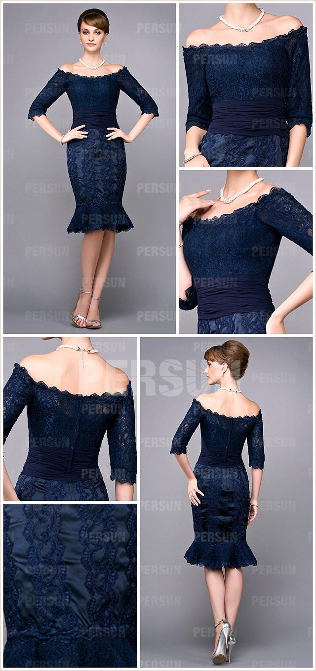 robe de gala élégante sirène à manche courte épaule dénudée