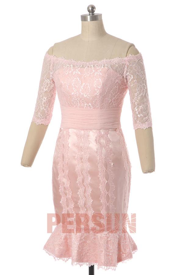 robe de cérémonie courte fourreau élégante col bardot en dentelle à manches mi-longue