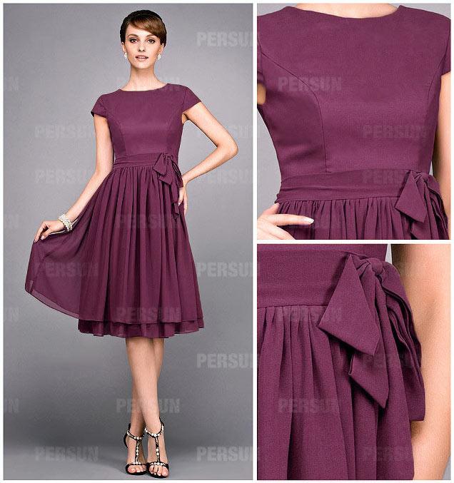 robe courte de couleur terre d'ombre à mancheron