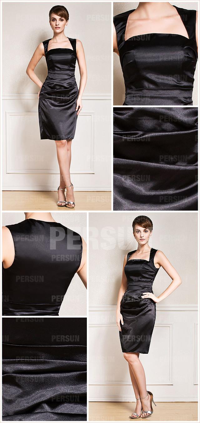 chic robe noire cocktail col carré courte en satin élastique