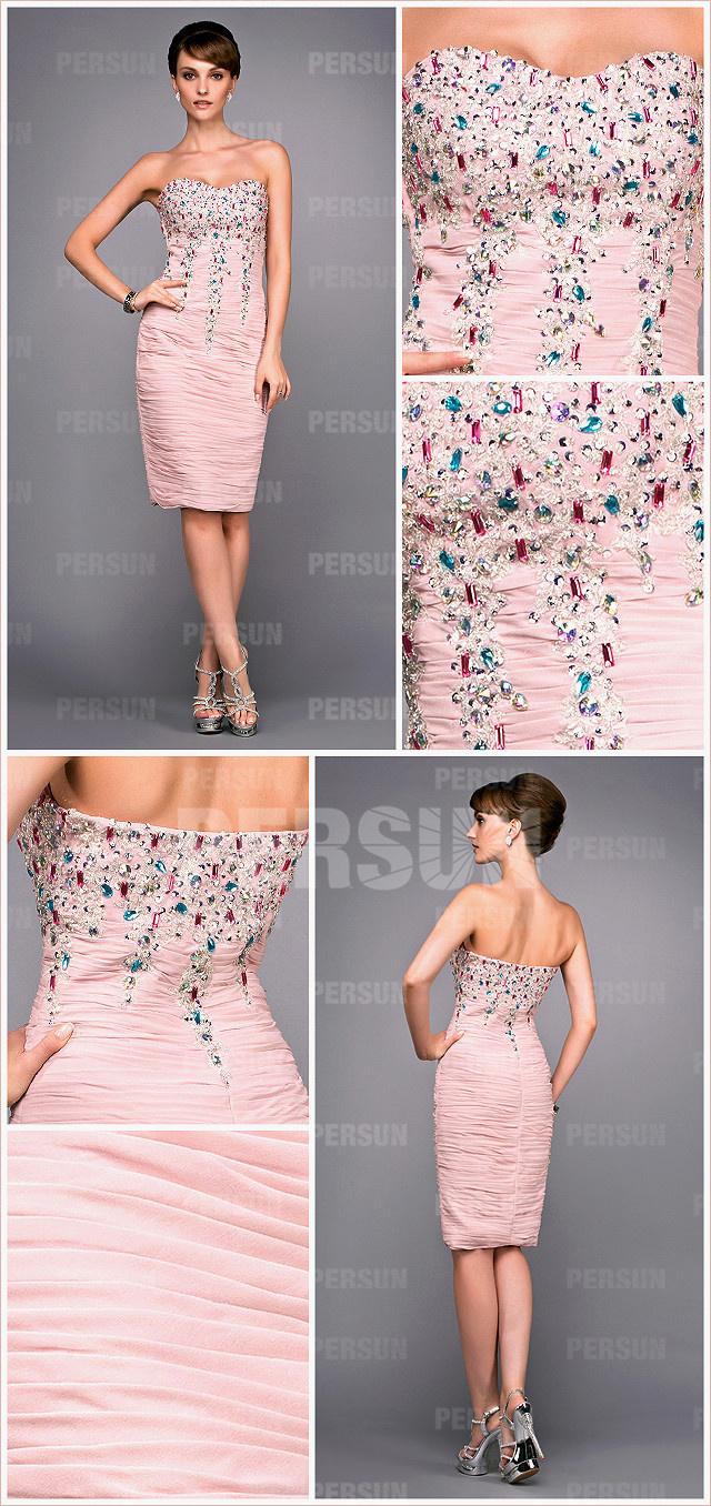 chic robe rose fiancaille bustier coeur moulante ornées de strass
