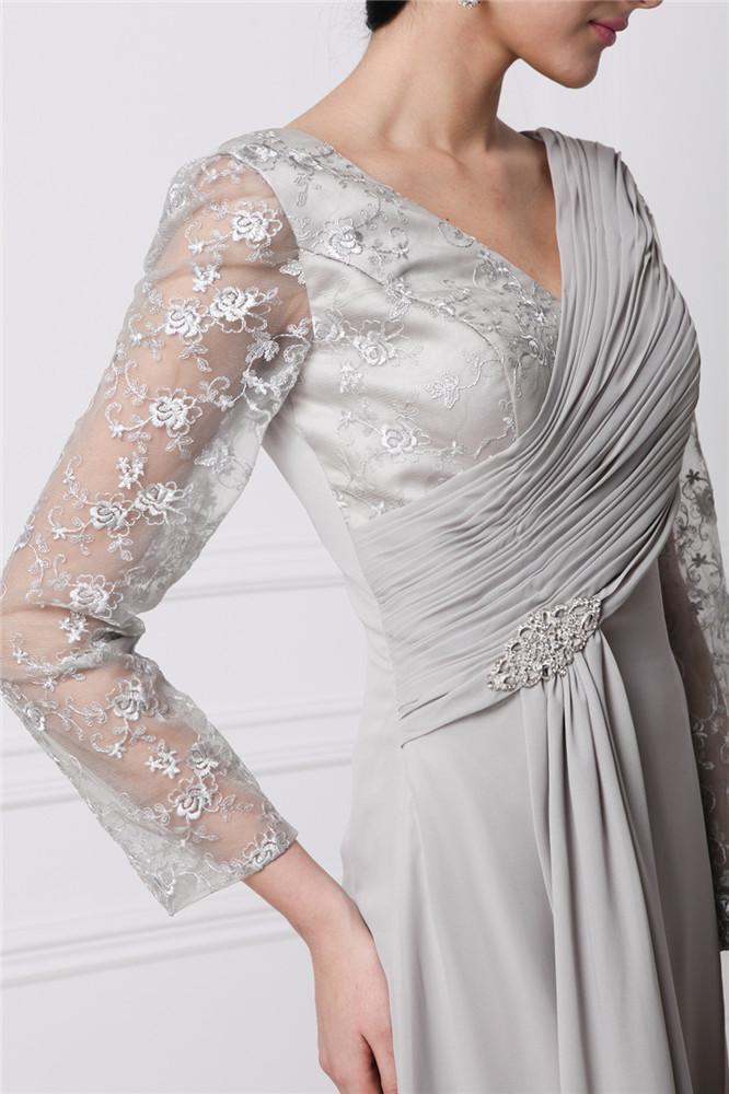 robe de soirée avec manche longue dentelle vintage & col V