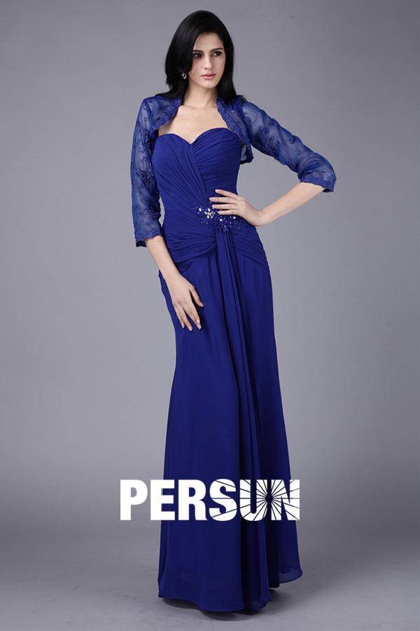 robe mère de mariée bleu roi longue bustier coeur plissé avec boléro manches longue transparente