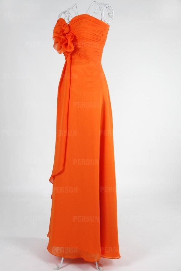 Robe demoiselle d'honneur plissée longue sol sans bretelle