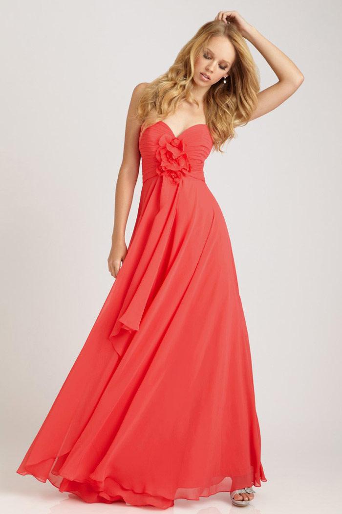 acheter robe bustier longue corail 2014 fleur fait-main en ligne