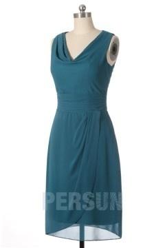 Robe demoiselle d'honneur courte vert pin à col drapé