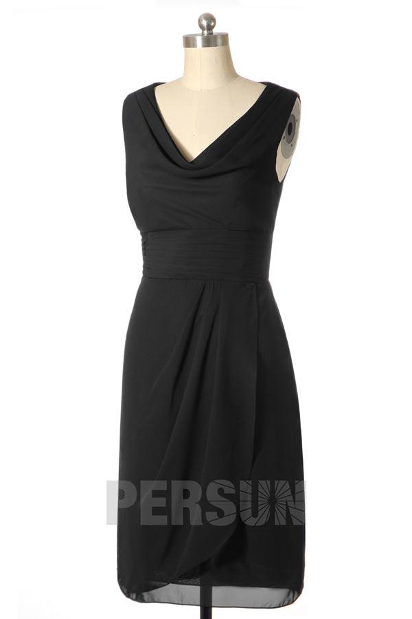 robe cocktail noire courte simple col drapé coupe droite