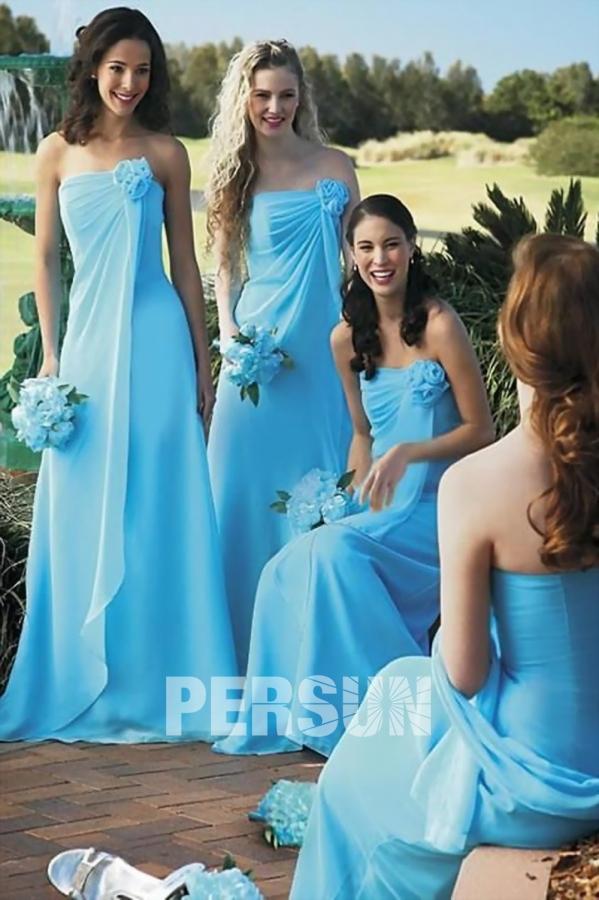 Robe demoiselle d'honneur bustier bleu fleuri en mousseline