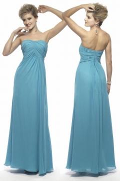 Robe demoiselle d'honneur en Mousseline bleue pour silhouette A ruchée sans bretelle