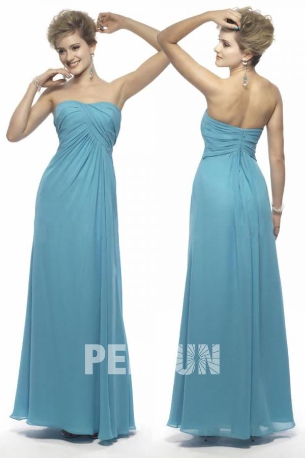 Robe demoiselle d'honneur en Mousseline bleue à A-ligne ruchée sans bretelle