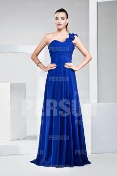 Vestido de Dama de Honor Largo de Gasa con Solo Hombro Volante Corte A