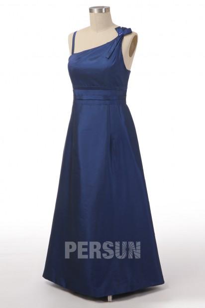 Robe de soirée longue asymétrique taffetas bleu roi à dos noeud papillon ligne A