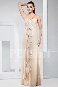 Robe demoiselle d'honneur bustier plissée longue sol