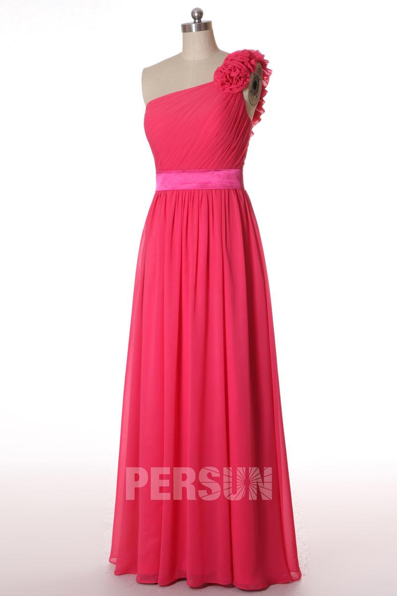 Robe longue rose fuchsia asymétrique pour cortège mariage