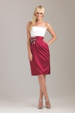 Robe demoiselle d'honneur bustier bicolore rouge et blanc