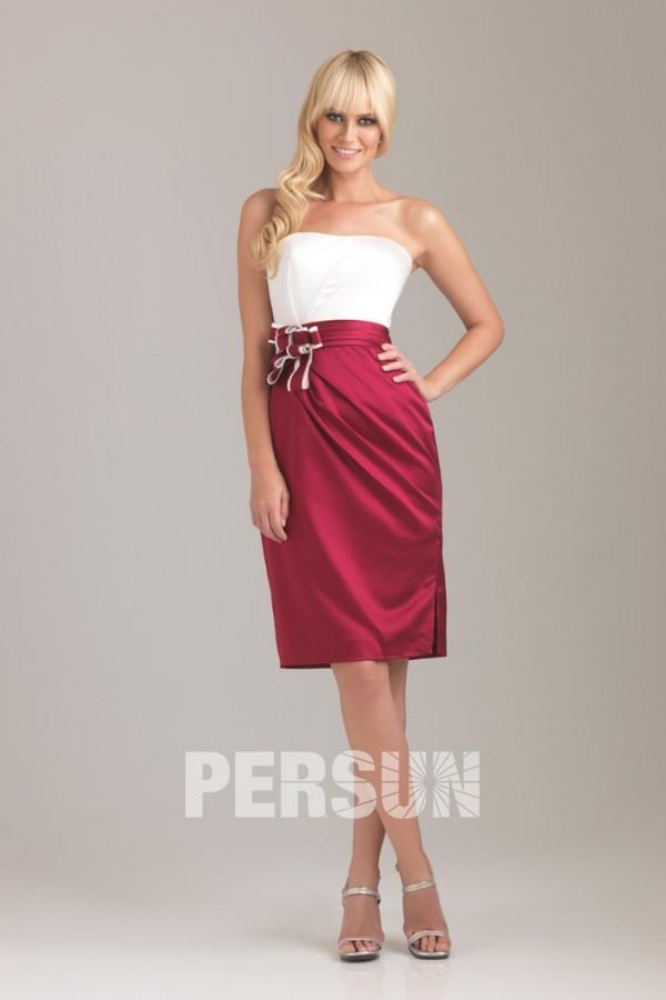 robe fourreau bicolore taille de fleurs fait-main en satin