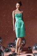 Elegant Pleats Strapless Taffeta Column Formal Bridesmaid Dress