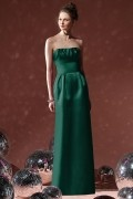 New Pleats Ribbon Strapless Satin Long Column Formal Bridesmaid Dress