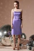 Simple Belt Strapless Satin Column Formal Bridesmaid Dress