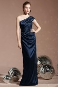 Elegant Pleated One Shoulder Satin Column Long Formal Bridesmaid Dress
