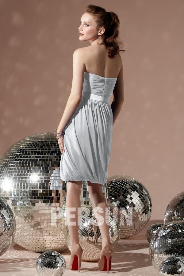 Robe cocktail de mariage bustier courte plissée