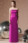 Elegant Belt Strapless Satin Column Long Formal Bridesmaid Dress