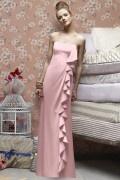 Ruffles Strapless Soft Satin Pink A line Long Formal Bridesmaid Dress