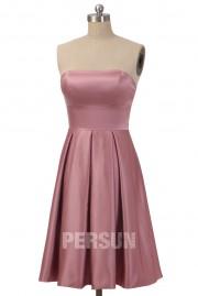 2014 Strapless Pink Pleats Short Simple Taffeta Bridesmaid Dress