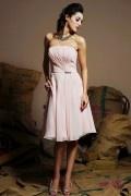 2014 Strapless Pleats Beaded Short Simple Chiffon Bridesmaid Dress