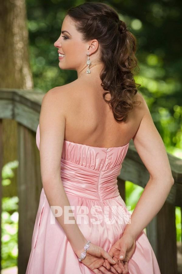 Robe bustier rose plissée courte pour demoiselle d'honneur