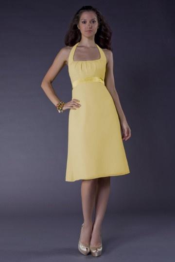 Robe d'été pour demoiselle d'honneur ceinturée de ruban à col américain en mousseline jaune