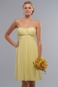 2014 Strapless Ruching Embroidery Short A-line Chiffon Bridesmaid Dress