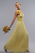 Schön A Linie V Ausschnitt Gelb Bodenlang Brautjungferkleid